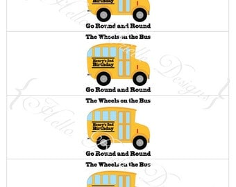 Wheels on the Bus Printable Drink Labels