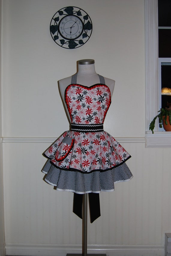 Red, White, and Black Pinup Full Retro 50s Circle Skirt Apron