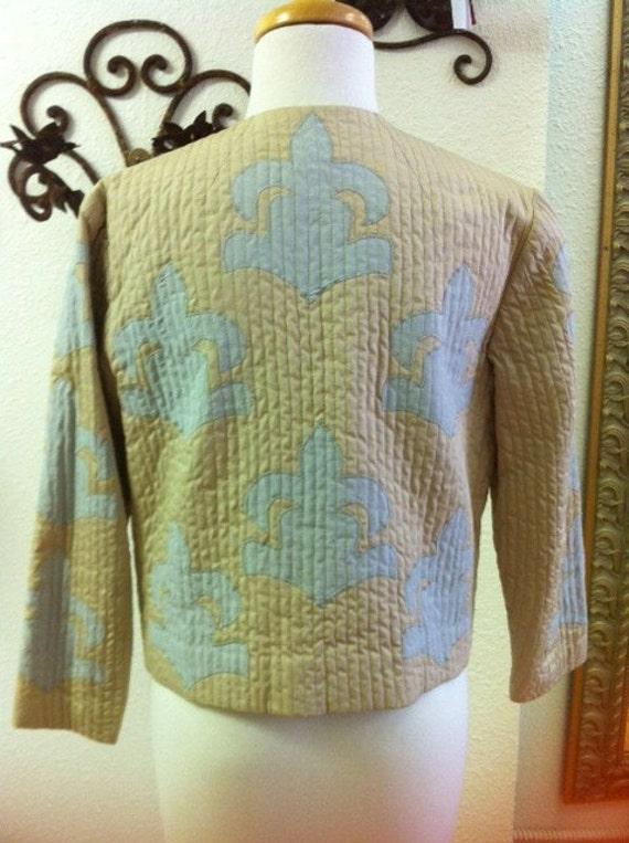 Fleur De Lis Pattern Fall Jacket Made In Italy