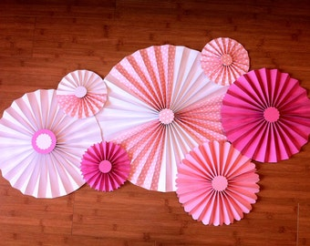 Set of 7 Large DIY Paper Rosettes/Fans - Pretty in Pink