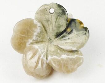 3D Hand Craft Ocean Jasper Flower Pendant Bead - 24x24x7mm