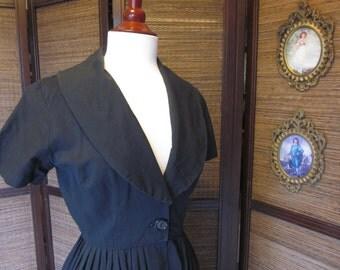 1950s Black Cotton Summer Dress