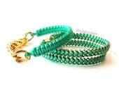 Thin Braid & Lattice Wrap Bracelet Set