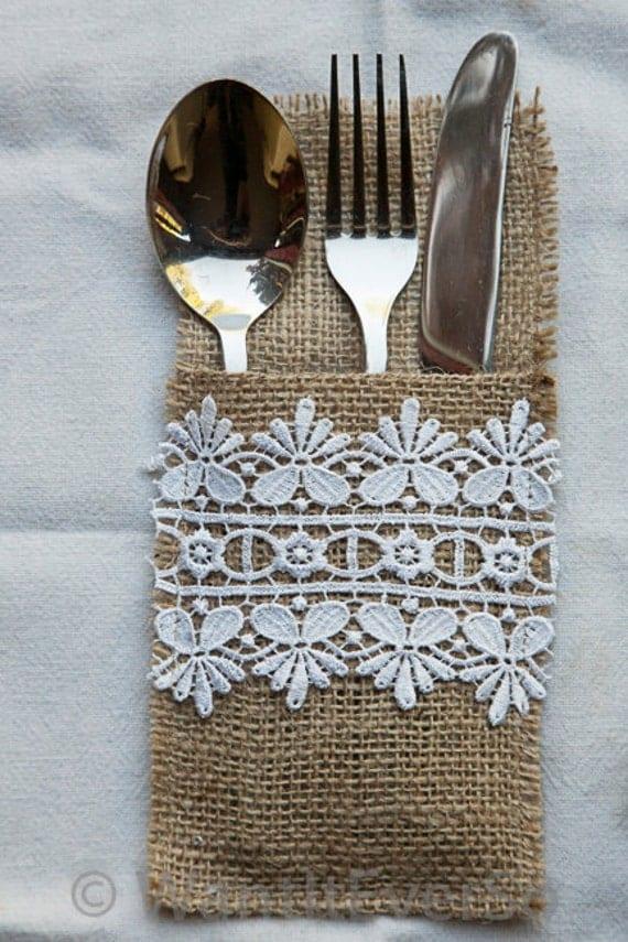 Items similar to burlap hessian lace cutlery holder - Adornos de navidad para la mesa ...