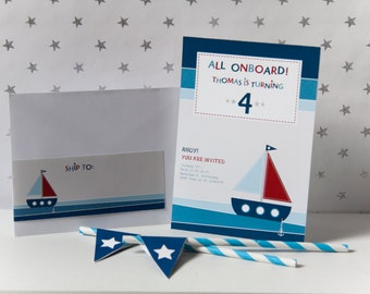 Nautical-Invitation and Address Labels-Birthday Boy-Custom Printable-psDre Party Printables