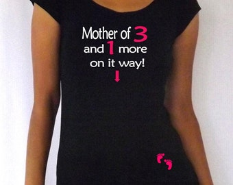 "Personalized, fun,cute, maternity Shirt ""Mother of and 1 on it way"" with footprints Perfect for mother's day or everyday use, cap sleeves"