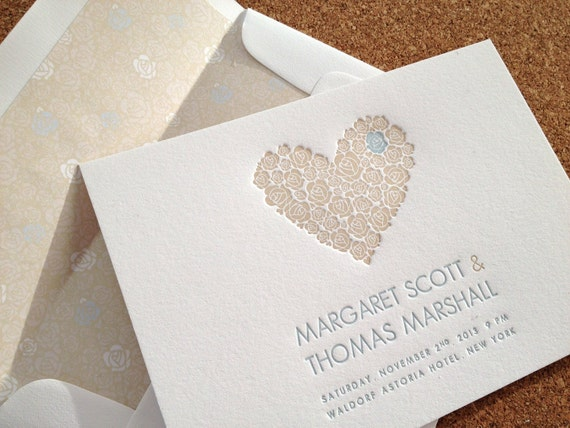 Wedding Invitations With Response Cards And Envelopes: Letterpress Wedding Invitations & Reply Cards Envelopes