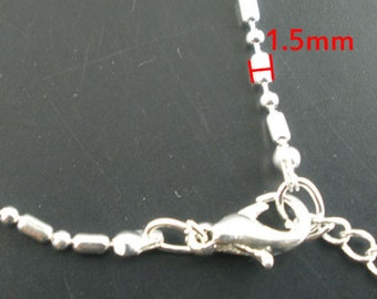 10pcs 41cm Silver Tone Ball Beads Chain Necklace