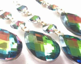 5 Vitrail Rainbow 38mm Teardrop Chandelier Crystals Prisms Ornaments