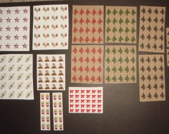 HUGE LOT of (254) Holiday Christmas New Year 4th of July Decals - Nail Art Tattoo - Includes BONUS