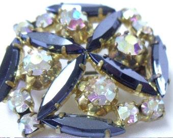 Vintage Austria Hematite and Aurora Borealis Crystal Brooch Pin