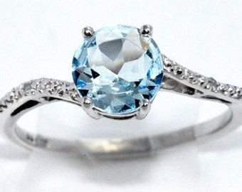 1.5 Ct Natural Aquamarine & Diamond Round Ring .925 Sterling Silver Rhodium Finish