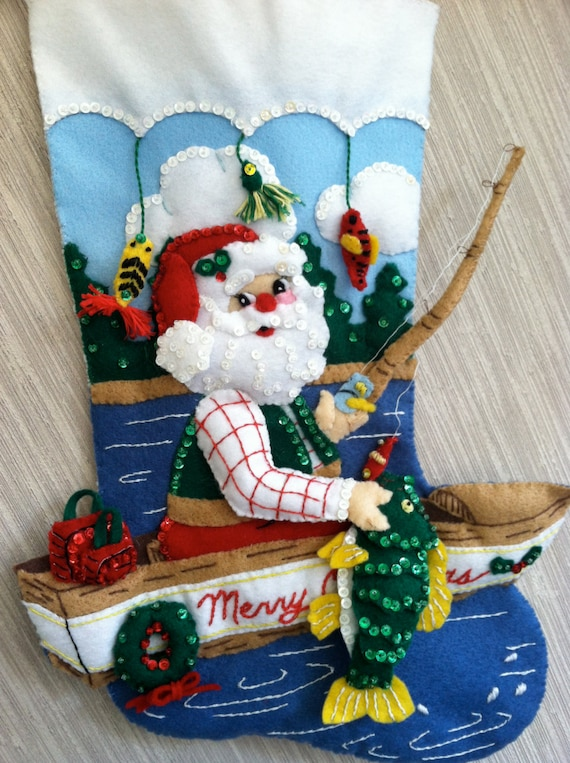 Fishing santa completed handmade felt christmas stocking from for Fish christmas stocking