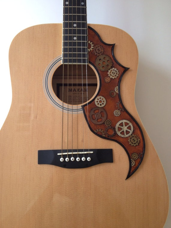 steampunk pick guard leather acoustic w improved rivited. Black Bedroom Furniture Sets. Home Design Ideas