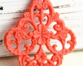 6 pcs of german filigree charm 0289-45x55mm-18-coral red