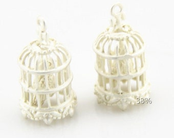 2 pcs of brass bird cage pendant charm with bird inside 10x14mm-1894-mat silver