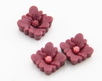 12 pcs of square flower cabochon 12x12x4mm-RC0051