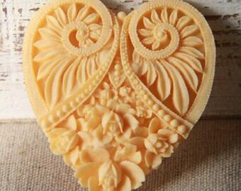 6 pcs of resin heart cabochon 50x55mm-RC0467-26-dark ivory