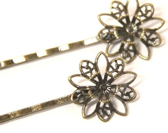 12 Pcs of hair bobby pin with 20mm brass filigree-M6011-Antique bronze