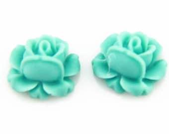 12 pcs of resin rose bud cabochon-13mm-0476-27-light blue