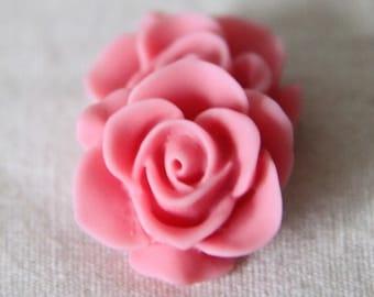 12 pcs Resin Rose cabochon 20mm-RC0049-13-new pink