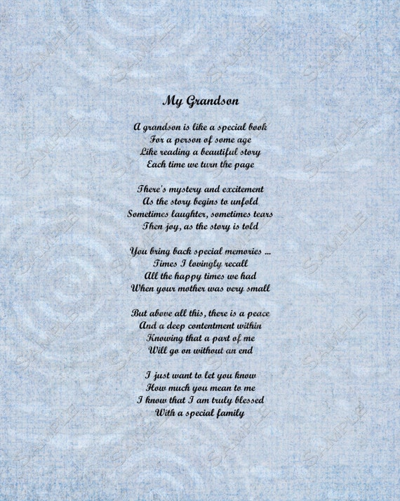 Items similar to Grandson Poem Love Poem 8 X 10 Print ...