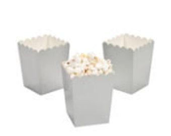 24 Mini Silver popcorn boxes treat favors