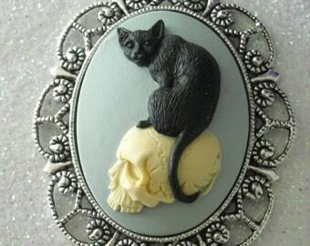 Black Cat and Ivory Skull Antique Silver Brooch