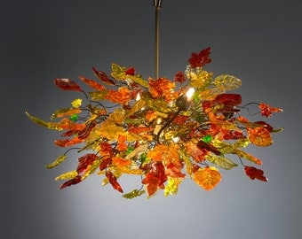 Hanging chandeliers with warm color leaves and flowers for dining room, bedroom or living room.