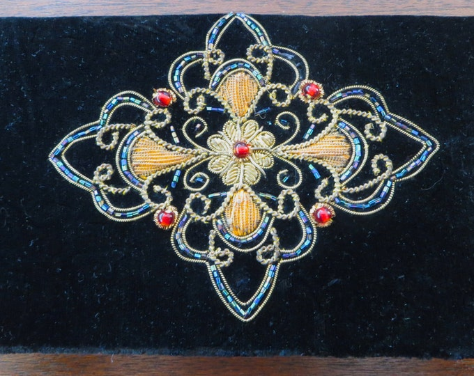Velvet Clutch Purse, Maltese Cross. Embroidery Bead Sequin, French Style Elegance, Vintage