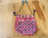 Vintage pink bag/pouch/purse Made in India, mirrored pouch/hippie bag