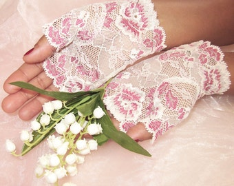 Bridal fingerless lace gloves, featured in Brides Magazine UK, ivory and pink floral lace, bridal accessory