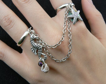 starfish seahorse double ring slave ring chained ring seahorse shells abalone in beach summer hipster boho gypsy hippie and pirate  style