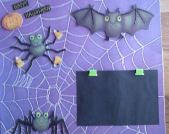 Halloween Spiders Bats 12x12 Kids Premade Scrapbook Page