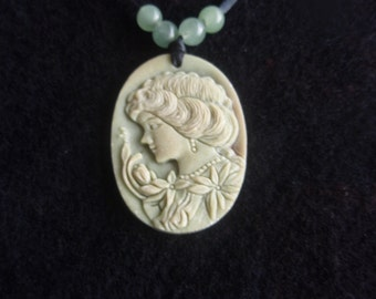 Cameo and Beads Necklace  Green tone cameo with jade beads   Fashion necklace