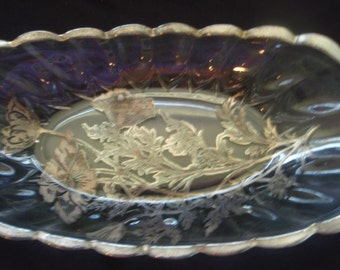 Retro Oblong Glass Bowl with Silver Painted Flowers , Reverse painted Vintage fruit or serving bowl