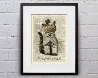 Madame, I Require A Thimble Of Catnip And A Decent Flame-Thrower  - Victorian Cat Dictionary Page Book Art Print - DPLJ010