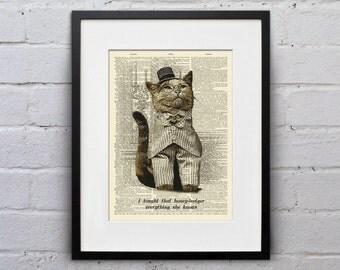 Honey Badger - Victorian Cat Dictionary Page Book Art Print - DPLJ014