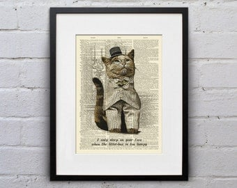 Litter-Bed Confession - Victorian Cat Dictionary Page Book Art Print - DPLJ017