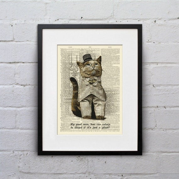 It's Just A Plant - Victorian Cat Dictionary Page Book Art Print - DPLJ015