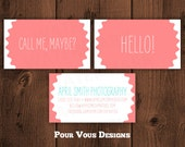 Premade Business Card Template Cute Modern Fun Photography Design - Printable, Personalized