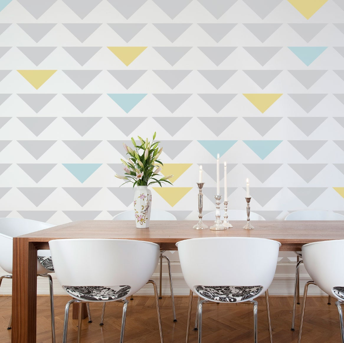 Geometric triangle wall stencil zoom amipublicfo Image collections