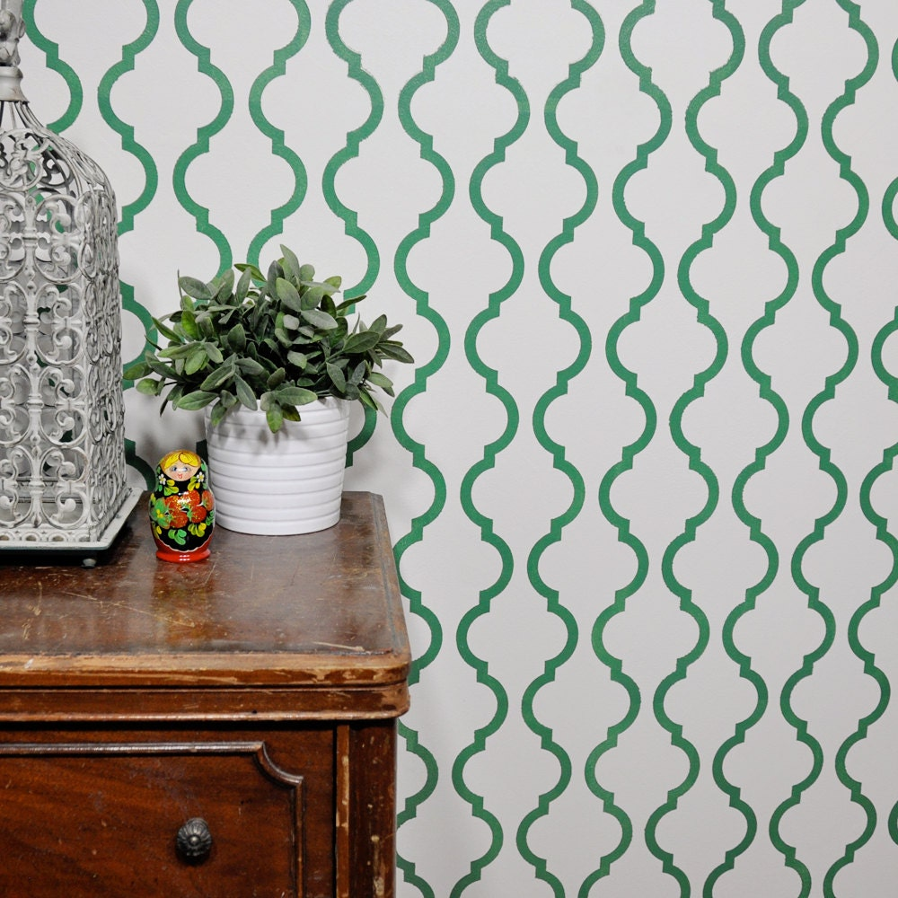 Outline Moroccan Wall Stencil Reusable