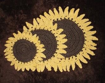 Crochet Sunflower Pot Holder Hot Pad Coaster Set of Three 100% Cotton