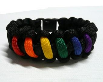 Rainbow Flag Pride Paracord Survival Bracelet