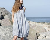 Linen dress, 100% crumpled linen, blue short pocket  handmade to order