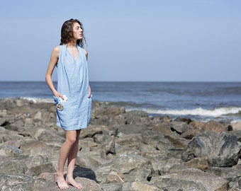 Linen dress/ blue dress/ short/ pocket/ flower decorated/ handmade to order