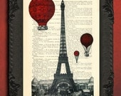 Eiffel Tower with red hot air balloons print eiffel tower dictionary art print