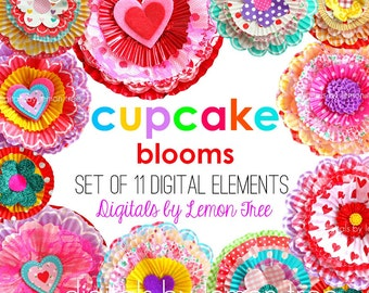 Digital Clip Art -- CUPCAKE BLOOMS Collection (Instant Download)