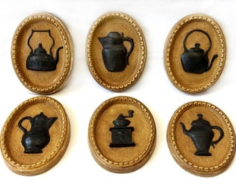 Set of 6 Vintage Cameo-Style Relief Wall Plaques - Plaster - Tan and Black - Teapots and Kettles - Coffee and Tea